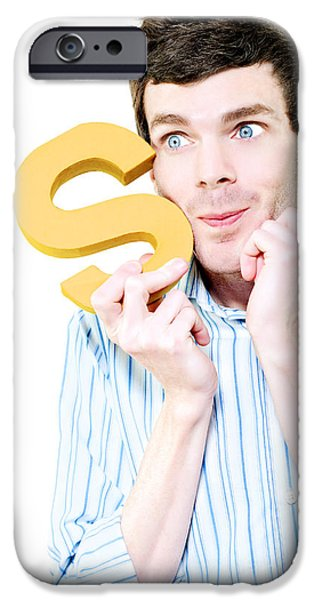 Business iPhone Cases - Isolated Businessman With S For Solution On White iPhone Case by Ryan Jorgensen