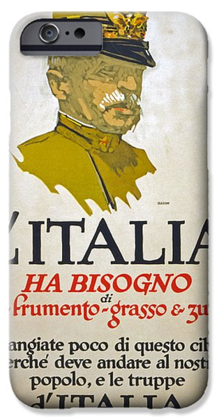Wwi Drawings iPhone Cases - Italy Has Need Of Meat Wheat Fat and Sugar iPhone Case by George Illian