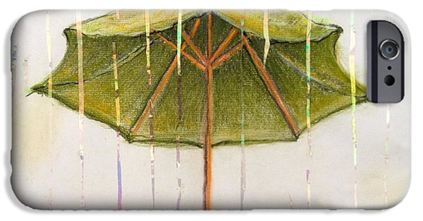 Umbrella Pastels iPhone Cases - Its Raining Its pouring iPhone Case by Donna Kerness