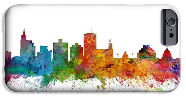 Mississippi iPhone Cases - Jackson Mississippi Skyline iPhone Case by Michael Tompsett