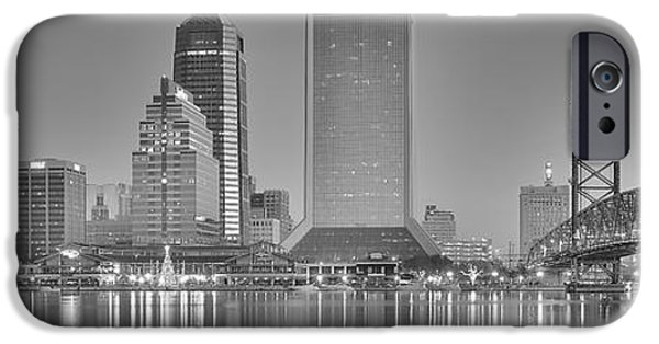Jacksonville iPhone Cases - Jacksonville Florida Black and White Panoramic View iPhone Case by Frozen in Time Fine Art Photography