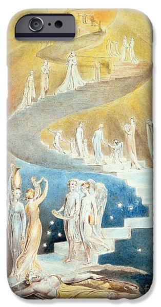 Visionary Paintings iPhone Cases - Jacobs Ladder iPhone Case by William Blake
