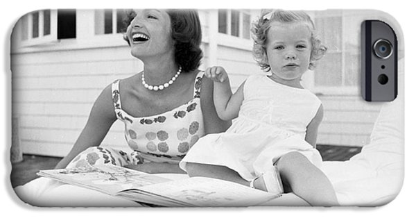 Cape Cod iPhone Cases - Jacqueline and Caroline Kennedy at Hyannis Port 1959 iPhone Case by The Phillip Harrington Collection