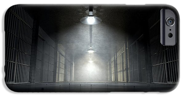 Mechanism iPhone Cases - Jail Corridor And Cells iPhone Case by Allan Swart