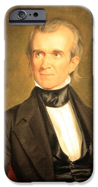 Cora Wandel iPhone Cases - James K. Polk iPhone Case by Cora Wandel