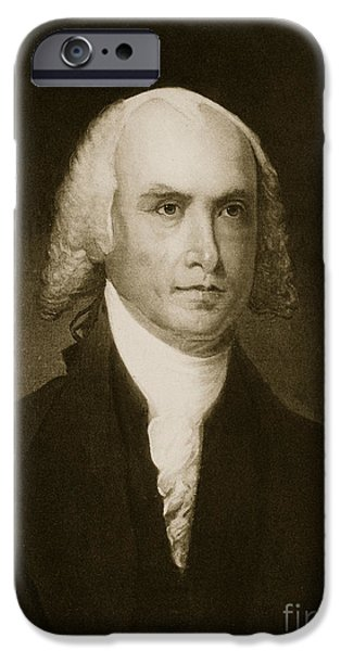 White House Paintings iPhone Cases - James Madison iPhone Case by American School