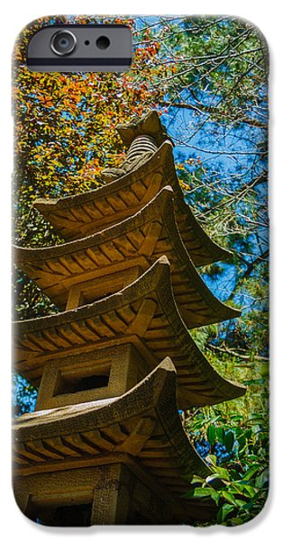Asia iPhone Cases - Japanese shrine in the garden iPhone Case by Sarit Sotangkur