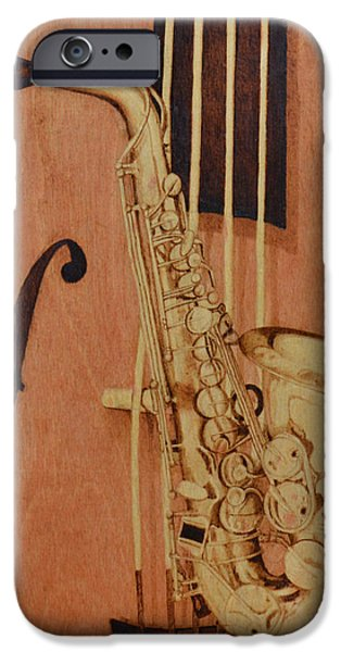 African-americans Pyrography iPhone Cases - Jazz is the Color iPhone Case by Laurisa Borlovan