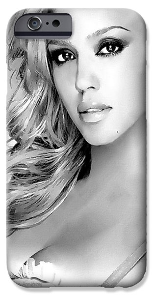 Jessica Alba iPhone Cases - #1 Jessica Alba iPhone Case by Alan Armstrong