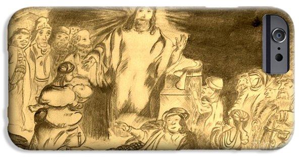 Jesus Drawings iPhone Cases - Jesus heals iPhone Case by Patrick Davis