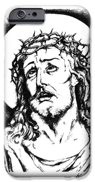 Religious Drawings iPhone Cases - Jesus With Crown of Thorns iPhone Case by Karen Sirard
