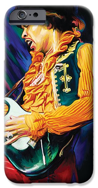 Jimi Hendrix iPhone Cases - Jimi Hendrix Artwork iPhone Case by Sheraz A