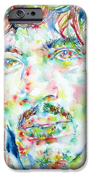 Experience Paintings iPhone Cases - JIMI HENDRIX watercolor portrait.1 iPhone Case by Fabrizio Cassetta