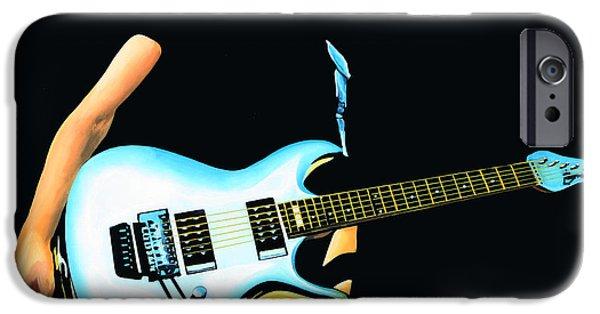 Songwriter Paintings iPhone Cases - Joe Satriani  iPhone Case by Paul  Meijering