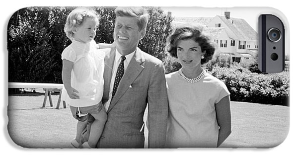 First Lady Photographs iPhone Cases - John F. Kennedy with Jacqueline and Caroline 1959 iPhone Case by The Phillip Harrington Collection