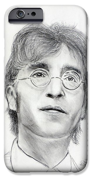 Beatles Pastels iPhone Cases - John Lennon Beatles iPhone Case by Ruth Jamieson