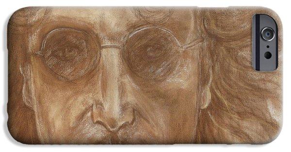 Beatles Pastels iPhone Cases - John Lennon iPhone Case by Laura Corebello