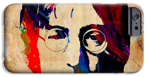 Beatles iPhone Cases - John Lennon Painting iPhone Case by Marvin Blaine