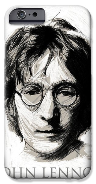 Musican Drawings iPhone Cases - John Lennon iPhone Case by Stefan Kuhn