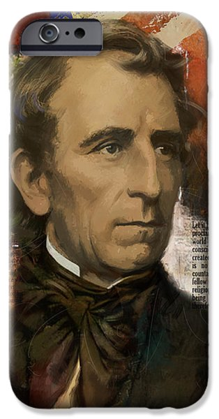 Franklin Paintings iPhone Cases - John Tyler iPhone Case by Corporate Art Task Force