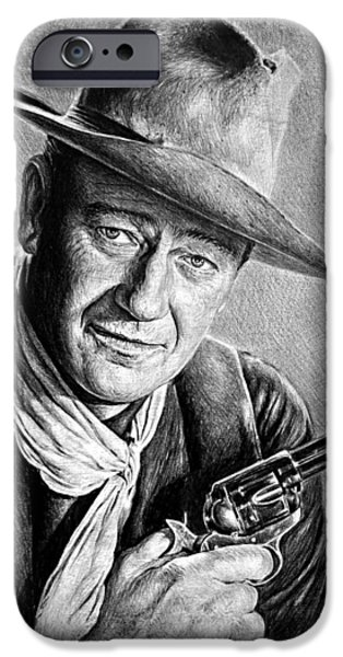 John Wayne Drawings iPhone Cases - John Wayne  iPhone Case by Andrew Read