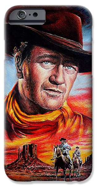 Celebrity Drawings iPhone Cases - John Wayne Searching iPhone Case by Andrew Read