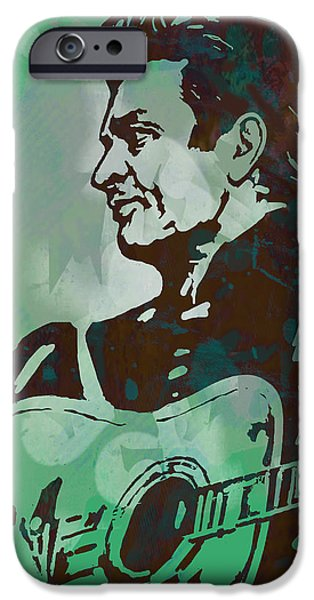 Celebrate Mixed Media iPhone Cases - Johnny Cash - Stylised Etching Pop Art Poster iPhone Case by Kim Wang