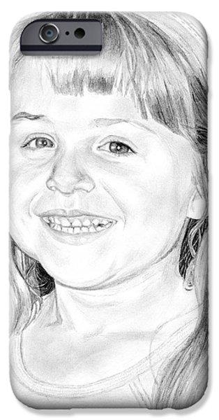 Sisters Drawings iPhone Cases - Jordan iPhone Case by Tamir Barkan