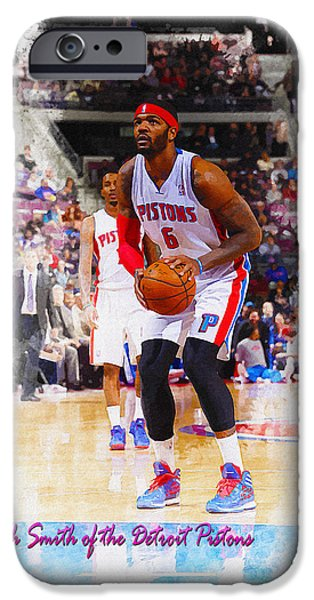 Allstar iPhone Cases - Josh Smith of the Detroit Pistons iPhone Case by Don Kuing