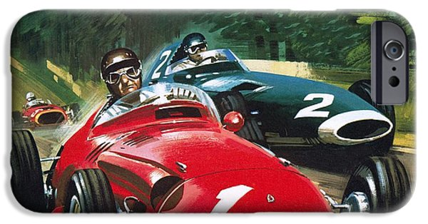 Transportation Drawings iPhone Cases - Juan Manuel Fangio iPhone Case by Wilf Hardy
