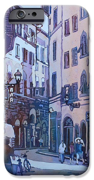 Alley Paintings iPhone Cases - July in Florence iPhone Case by Jenny Armitage
