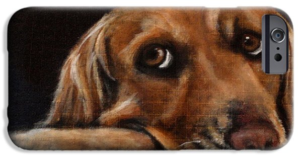 Dog Close-up Paintings iPhone Cases - June iPhone Case by Carol Russell