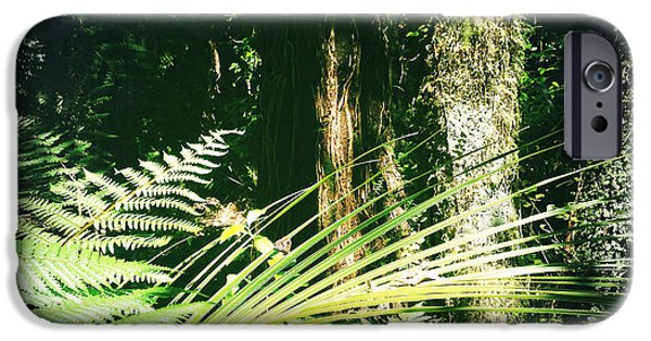 Raining iPhone Cases - Jungle green iPhone Case by Les Cunliffe