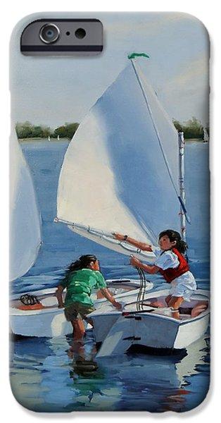 Sailboat Ocean iPhone Cases - Junior Sailors two iPhone Case by Laura Lee Zanghetti
