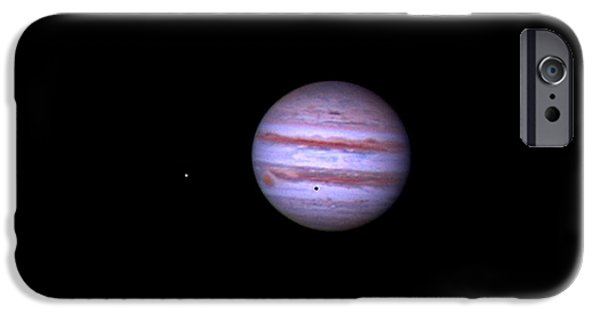 Galilean Moon iPhone Cases - Jupiter And Moon Shadow Transit, 2013 iPhone Case by John Chumack