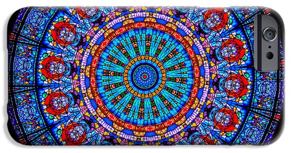Mandala Photographs iPhone Cases - Kaleidoscope Stained Glass Window Series iPhone Case by Amy Cicconi