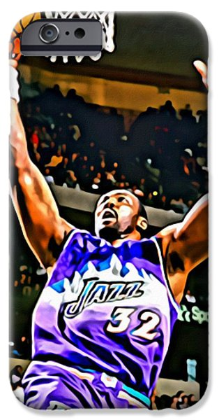 Karl Malone iPhone Case by Florian Rodarte
