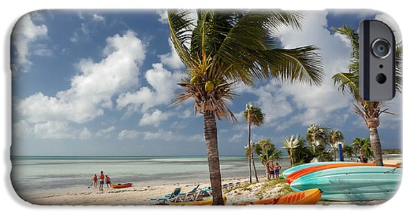 Private Island iPhone Cases - Kayaks on the Beach iPhone Case by Amy Cicconi