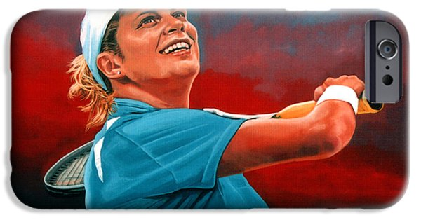 Sports Paintings iPhone Cases - Kim Clijsters iPhone Case by Paul  Meijering