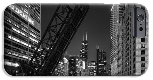 Rust Photographs iPhone Cases - Kinzie Street railroad bridge at night in Black and White iPhone Case by Sebastian Musial