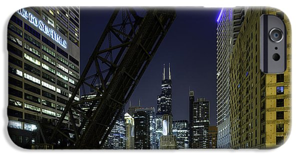 City Scape Photographs iPhone Cases - Kinzie Street railroad bridge at night iPhone Case by Sebastian Musial