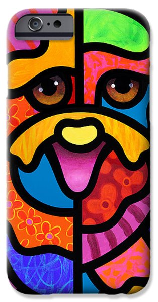 Dog Abstract Art iPhone Cases - Happy Dog iPhone Case by Steven Scott