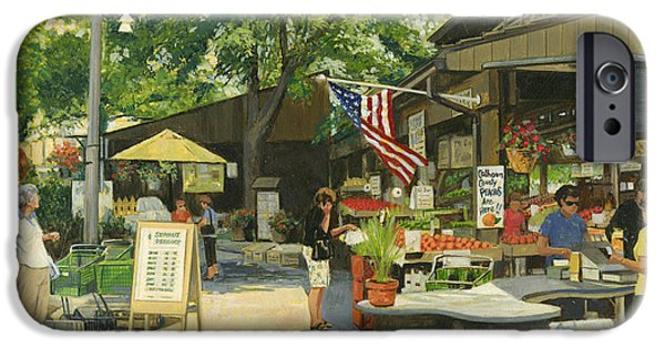 4th July Paintings iPhone Cases - Kirkwood Farmers Market American Flag iPhone Case by Don  Langeneckert