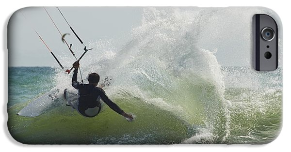 Kiteboarding iPhone Cases - Kitesurfer Catching A Wave iPhone Case by Ben Welsh
