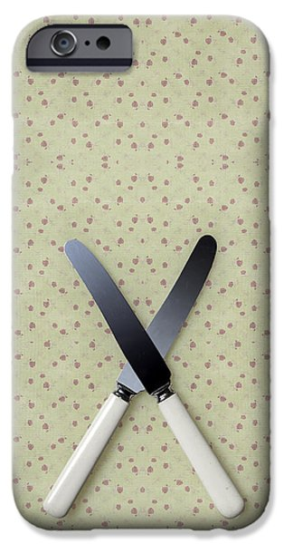 Table Cloth iPhone Cases - Knives iPhone Case by Joana Kruse