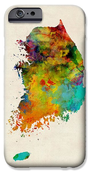 Maps - iPhone Cases - Korea Watercolor Map iPhone Case by Michael Tompsett
