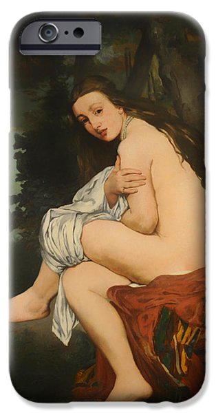 Covering Up iPhone Cases - La Nymphe Surprise iPhone Case by Edouard Manet