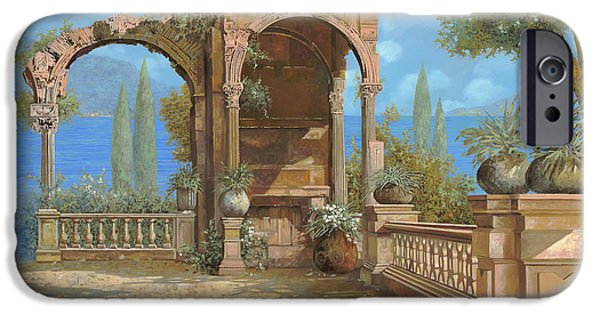 Lakescape iPhone Cases - La Terrazza Sul Lago iPhone Case by Guido Borelli