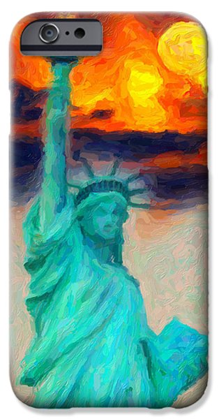 Statue Of Liberty Paintings iPhone Cases - Lady Liberty iPhone Case by Celestial Images