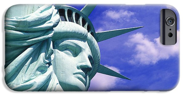 Cities Mixed Media iPhone Cases - Lady Liberty iPhone Case by Jon Neidert